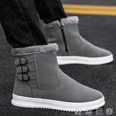 新款冬季雪地靴男防水中筒棉靴保暖加絨馬丁靴英倫風高幫棉鞋  潮流衣舍