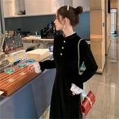2019大碼秋冬裝法式少女氣質復古長裙胖mm收腰顯瘦打底絲絨洋裝 poly girl