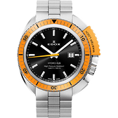EDOX Hydro Sub 北極潛水500米石英腕錶-黑x橘框/46mm E53200.3OM.NIN