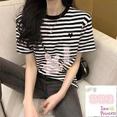 短袖T恤夏季愛心條紋t恤女短袖寬鬆半袖上衣【萌萌噠】