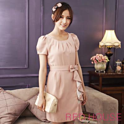 【RED HOUSE-蕾赫斯】優雅公主袖搭配蝴蝶腰帶設計款洋裝(粉色) 夏季優惠