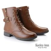 ★2019秋冬★Keeley Ann極簡魅力 金屬釦側拉鍊綁帶全真皮短靴(棕色)