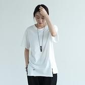短袖T恤-純棉圓領簡約純色寬鬆破洞開岔女上衣2色73nl23[巴黎精品]