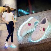 單鞋led帶燈七彩發光鞋usb充電熒光夜光小白鞋 LQ5345『科炫3C』
