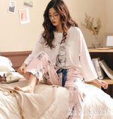 中大尺碼家居服 帶胸墊睡衣女秋季長袖韓版甜美可愛套裝可外穿 DR5660【KIKIKOKO】