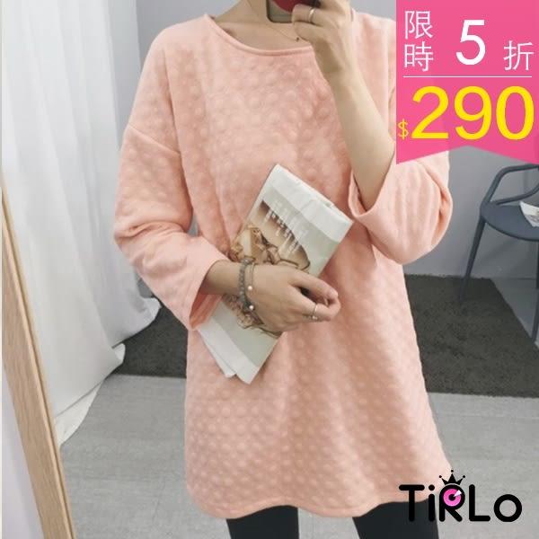 長袖上衣-Tirlo-粉橘立體圈圈落肩七分袖厚棉上衣-單一(現+追加預計5-7工作天出貨)