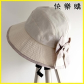 【快樂購】日繫帽子女天防曬遮臉遮陽帽蝴蝶結棉麻漁夫帽大花朵盆帽布帽潮