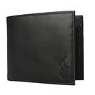 POLO RALPH LAUREN經典壓印馬球LOGO素面皮革短夾(黑色)780215