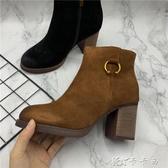 秋冬新款斷碼處理舒適休閒真皮女鞋方跟短靴單靴高跟女靴搭扣 【快速出貨】