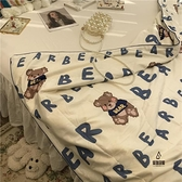 字母藍小熊熊北歐簡約單雙人夏涼被夏季薄被子空調被卡通清新【愛物及屋】
