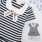 可愛小蜜蜂水手領橫條紋洋裝(250795...