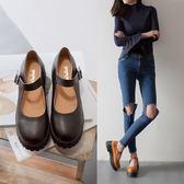 娃娃鞋復古日系圓頭軟妹厚底甜美平底淺口英倫 小皮鞋 XY1017 【男人與流行】