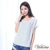 Victoria 條紋雪紡拼接寬鬆短袖T-女-白色