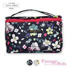 化妝包-日本品牌包PassageBois-防水超輕量直立手提收納包-黑色花漾款-玄衣美舖