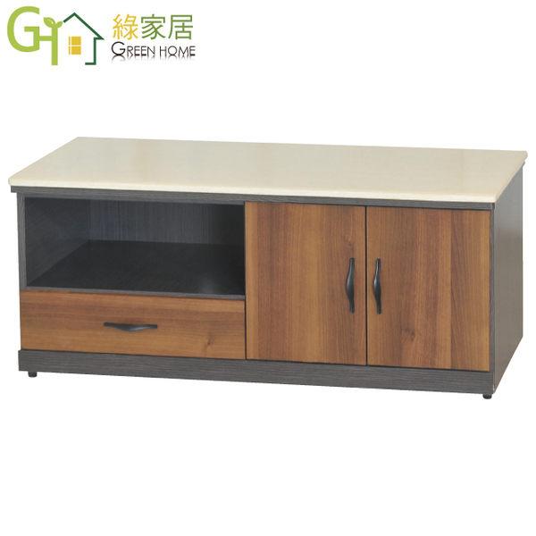【綠家居】伊蒂絲 時尚4尺雲紋石面長櫃/電視櫃(二色可選)