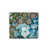【台中米蘭站】全新品 GUCCI 油墨花卉帆布八卡對折短夾(408666-藍)