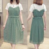 全館83折 洋裝 遮肚很仙的法國小眾連身裙夏裝2019新款胖mm大碼女裝兩
