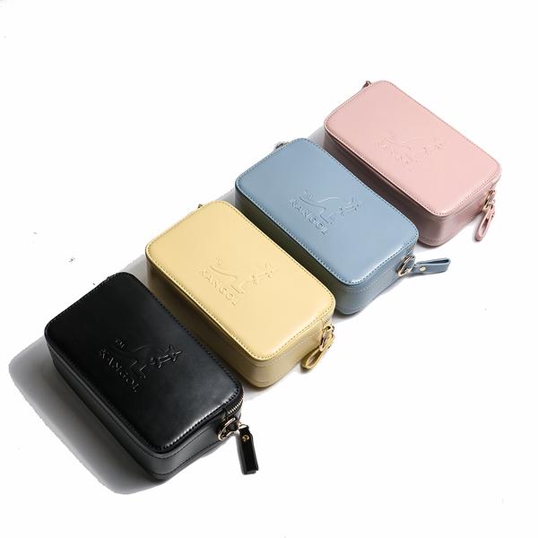 KANGOL 皮革 壓紋 背帶 雙拉鍊 斜背 相機包 四色 (布魯克林) 60253003-