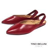 Tino Bellini 深V尖楦彈力後拉帶平底鞋 _ 紅 F83005