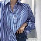 藍色豎條紋襯衫女設計感小眾秋裝年新款寬鬆復古長袖襯衣疊穿 聖誕節全館免運