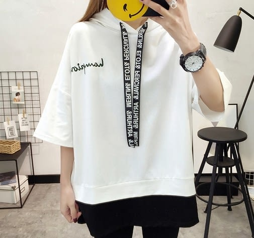 EASON SHOP(GU5059)連帽假兩件落肩刺繡字母圓領短袖T恤內搭衫女上衣服素色白棉T韓版寬鬆撞色純棉