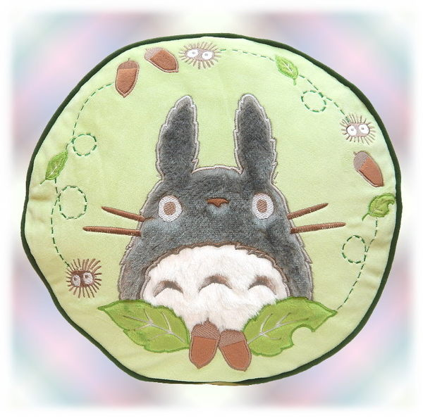 【波克貓哈日網】龍貓豆豆龍◇圓形細絨抱枕◇《大龍貓+橡實》