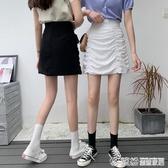 bm裙子夏季年褶皺高腰半身裙女夏顯瘦包臀A字裙黑色短裙