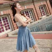 夏裝新款藍色吊帶百褶性感一字領露肩洋裝女  韓小姐的衣櫥