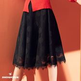 【SHOWCASE】玫瑰緹花蕾絲網及膝波浪裙(黑)