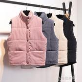 燈芯絨馬甲女秋冬裝韓版寬鬆學生短款棉衣背心坎肩羽絨棉外套『小宅妮時尚』