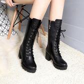 厚底馬丁靴女英倫風女靴短靴女粗跟靴子女高跟中筒靴機車靴女 9號潮人館