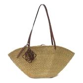 LOEWE 羅威 棕色牛皮拼草編肩背包 Shell Basket Bag【二手名牌 BRAND OFF】