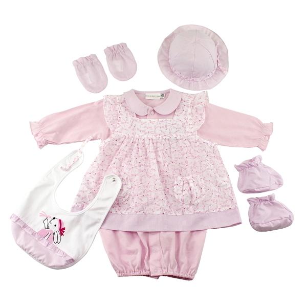 【愛的世界】純棉小兔蜻蜓兩件式兩用嬰衣6件組禮盒/3個月~1歲-台灣製-  ---禮盒推薦