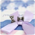 耳環 蝴蝶結系列 - 亮黑蝶 透明耳針 ...