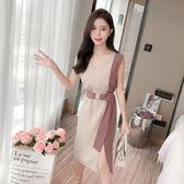 VK精品服飾 韓系復古v領撞色收腰系帶顯瘦開叉無袖洋裝