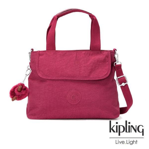 Kipling莓紫素面手提側背包(中)