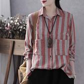 亞麻衣女 復古文藝新款女裝寬鬆長袖上衣豎條紋棉麻襯衫顯瘦