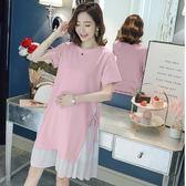初心 韓系洋裝 【D3279】假二件 雪紡 拼接 短袖 開叉 綁帶 長版衣 洋裝