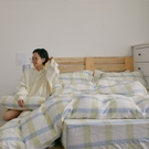 長絨棉 床包枕套組 雙人【萊姆格格】色織雙層紗 自由混搭 翔仔居家