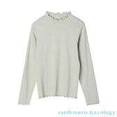 「Spring」捲邊微高領羅紋棉質長袖上衣 - earth music&ecology
