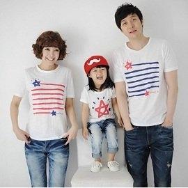 【親子裝】藍紅星星彩條短袖T恤親子裝情侶裝