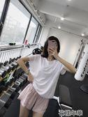 網眼運動罩衫女速干健身短袖T恤跑步上衣寬鬆透氣瑜伽服夏 花樣年華