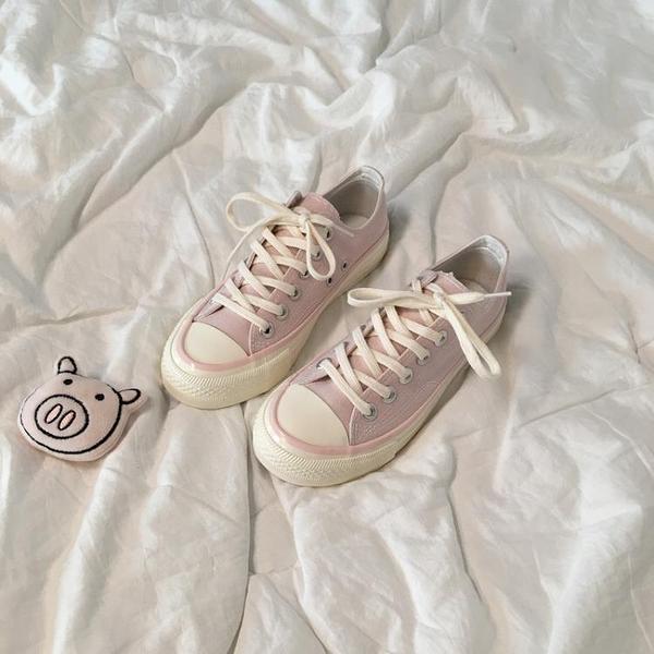 帆布鞋 復古布鞋韓版原宿學生百搭板鞋仙女粉 小天後