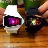 韓版潮流LED夜光創意飛機錶兒童鬧鐘電子錶男女情侶 全館免運