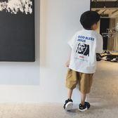 童裝男童新款短袖T恤2018韓版兒童白色印花體恤純棉半袖潮