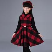 毛呢吊帶洋裝 女童毛呢背心裙紅色格子秋冬季中大童洋氣韓版兒童無袖呢子洋裝 小天後