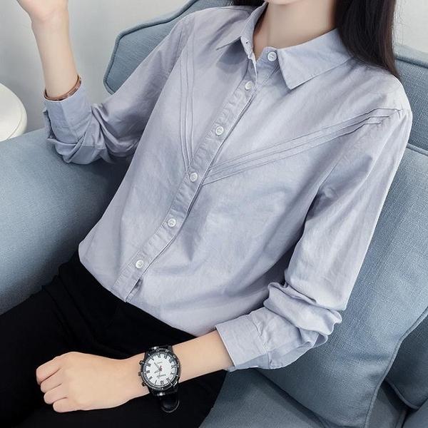 降價兩天 日系小清新純棉長袖白襯衫女 職業裝短袖白襯衣學院風女裝寬鬆外套