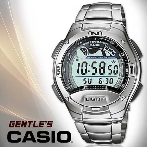 CASIO手錶專賣店 卡西歐 W-753D-1A 男錶 數字型 電子錶 潮汐 弧形鏡面 LED照明 三折式不繡鋼錶帶