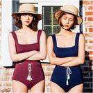 JE 泳衣比基尼 連身U領 酒紅 藏青色 紫色 復古 無鋼圈胸墊 泳裝溫泉比基尼 【489A】