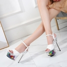 恨天高15cm超高跟鞋細跟防水台模特T台走秀涼鞋花朵露趾高跟鞋女 格蘭小鋪